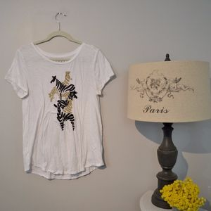 Loft t-shirt with zebra embroidered